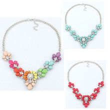 Fashion Choker pendants Necklace For Women Acrylic Gems Drop 3colors Silver Plated Statement Necklace Wholesale Fashion Jewelry(China (Mainland))