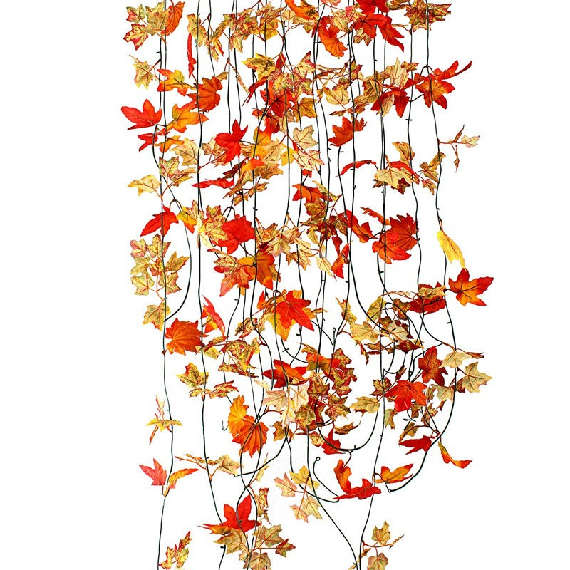 10pcs Artificial Ivy Red Maple Leaf Plastic Leaves Rattan Vines Hanging Wall mounted Fake Foliage Garden
