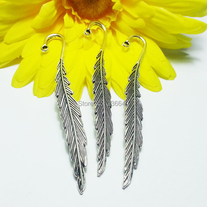20pcs/Lot 13*80mm Wholesale Metal Leaf and Vintage Bookmark Tibetan Silver Feather Bookmarks(China (Mainland))