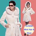 2016 Luxury Sheepskin Fur Coat Women Merino Sheepskin Jacket Real Fur Clothing Female Mink Jacket Natural