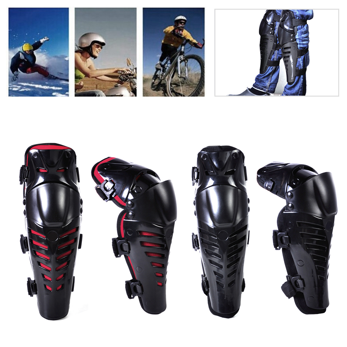 2pcs Motorcycle Motocross Bike Adults Knee Guard Protector Pad Shin Armor fit for Honda BMW Triumph Kawasaki Yamaha Suzuki Guzzi