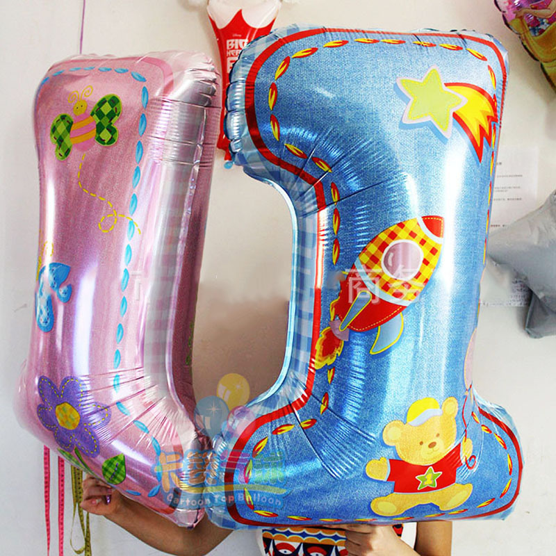 Free shipping Import aluminum toys for children 1 year old birthday party balloons wholesale high quality(China (Mainland))