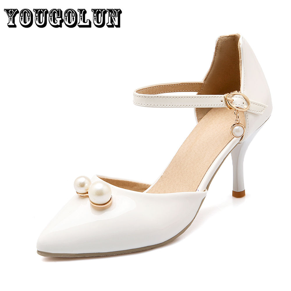 2016 Summer pointed Toe Fashion beading Womens Sandals high heels casual Party shoes Women white pink green Shoes ladies sandal<br><br>Aliexpress