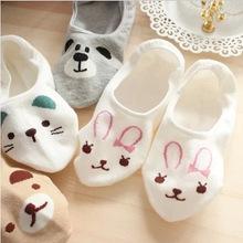 5 Color New Arrival Cute Cartoon Bear Cat Rabbit Chunmian Stealth Boat Socks/Short Feminino/Cartoon Animal Fas Print Socks Women(China (Mainland))