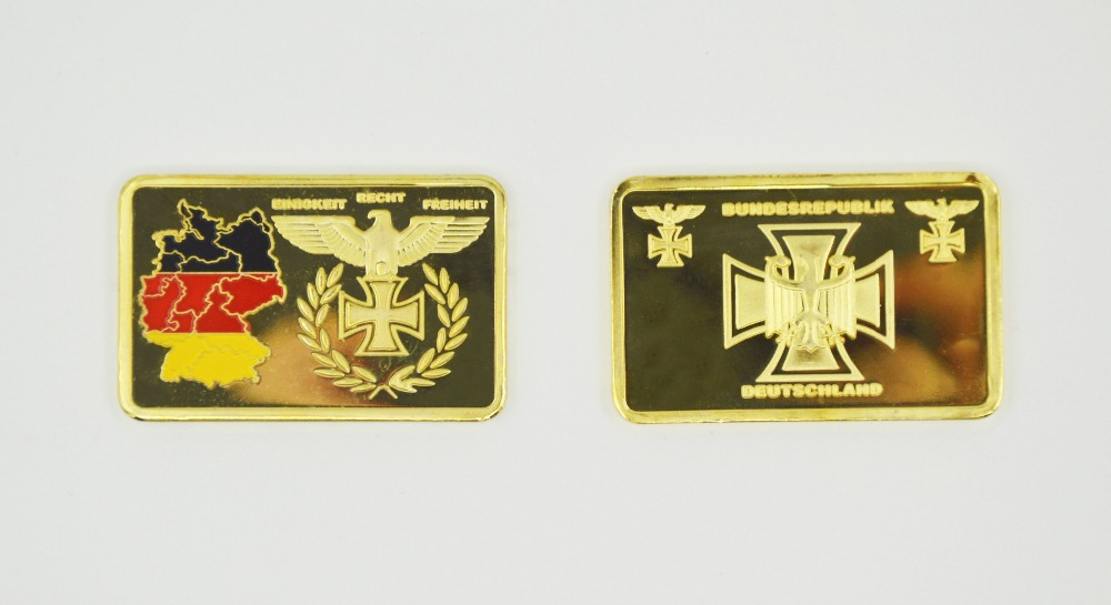 Wholesale/Retail Challenge Gold Bars/Coins Germany Territory/Eagle Painted Gold Bullion Bar For Promotion And Decoration(China (Mainland))