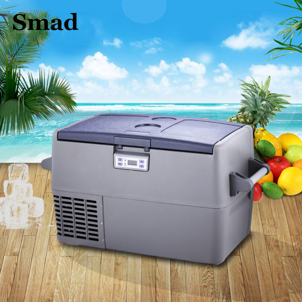 Smad 45 Qt DC12V AC220V/110V Portable Compressor Car Cooler Fridge High Quality Mini Truck Freezer For Camping Hiking(China (Mainland))