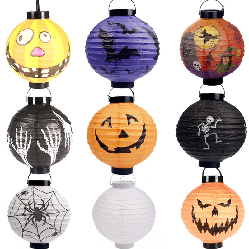 Halloween decorations Pumpkins lantern jack skeletons spiders bats party decoration props supplies Kids - kuli business store