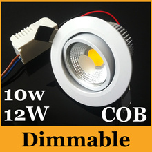 Dimmable 10W 12W Led Recessed Down Lights High Power COB Led Downlights Warm/Cool White 120 Angle AC 85-277V + Power Drivers CE(China (Mainland))