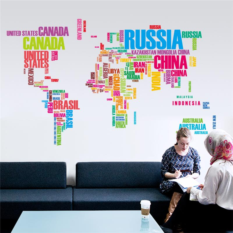 Creative wall stickers #15 Colorful Letters World Map