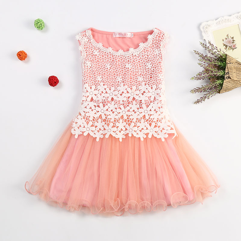 2015 New Lace Flowers Girls Dress Child's Wear Toddler TuTu Baby Girls Dresses High Quality Baby Girls Clothing Kids Clothes(China (Mainland))