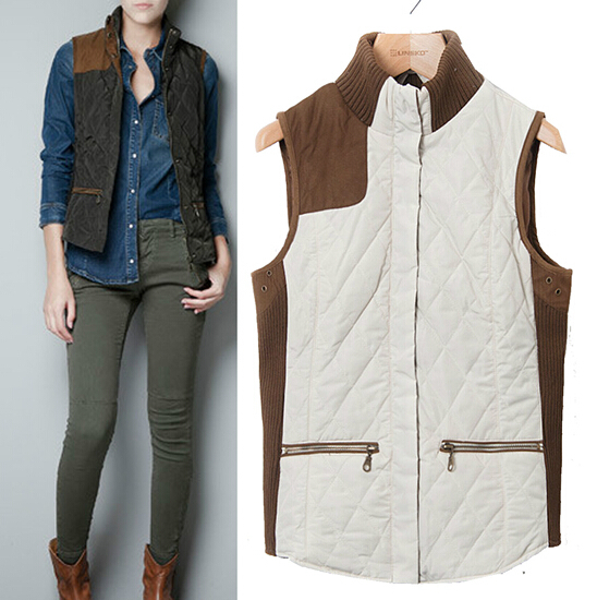 Free shipping HOT SALE 2015 Occident brand Women knitting quilting stitching vest waistcoat jacket down vest jacket(China (Mainland))