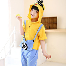 Girls summer pajamas unisex kids pajama sets pyjama minion cute children clothing pijama menino bathrobe children