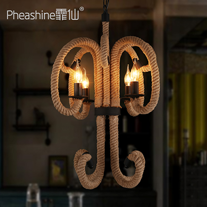 Fei Xian American Restaurant Bar Cafe Bar bedroom lamps IKEA Nordic hand woven rope Chandelier(China (Mainland))