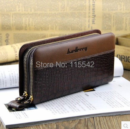 HotSale!Crocodile pattern mens wallets double zipper design long wallet mobile phone male bag cowhide clutch man bag(China (Mainland))