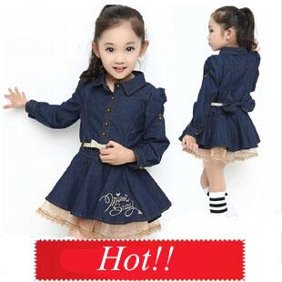 One Piece England Style Girls Winter Dresses Fashion Jeans Lace Long Sleeve Princess Dress Belt Autumn Kids Clothes C20W21 - SNOW LOVE store