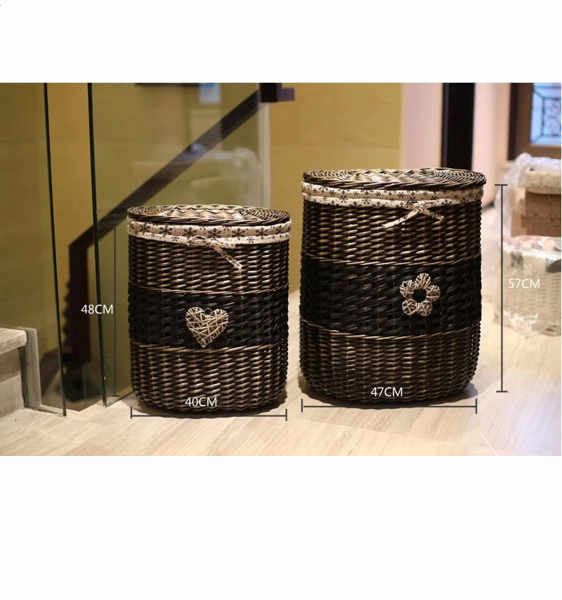 Laundry Hamper Storage Lined Wicker Basket Clothes Hamper With Lid Perfect Bathroom Accessories
