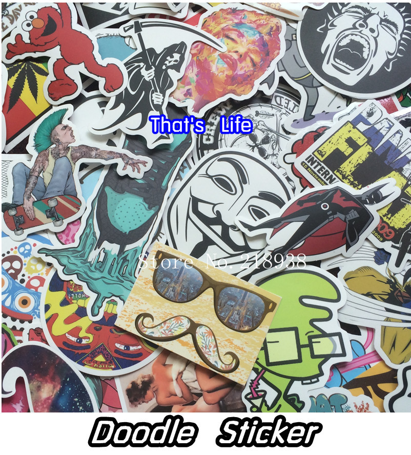 vinyl stickers for car sticker decal bicycle laptop sticker on car styling sticker bomb doodle motorcycle accessories(China (Mainland))