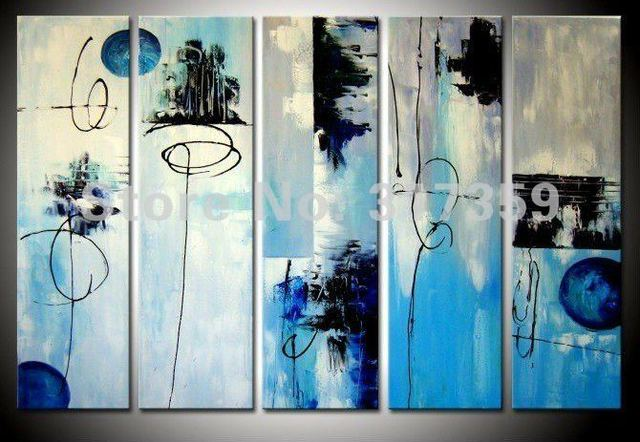 Free shipping abstract canvas art 5pc/set DeepSkyBlue oil paintings No framed acrylic paintings art