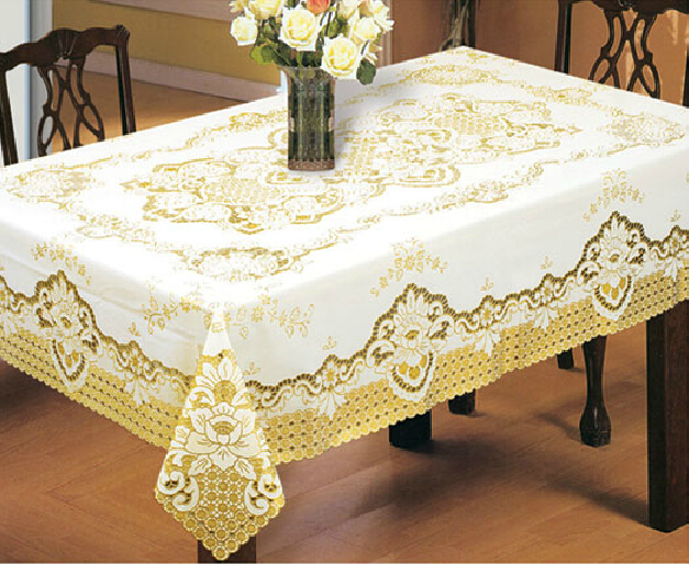 European classic hollowed-out gilding PVC table cloth gold white tablecloth waterproof oilproof HEATPROOF table cover 150*225cm(China (Mainland))