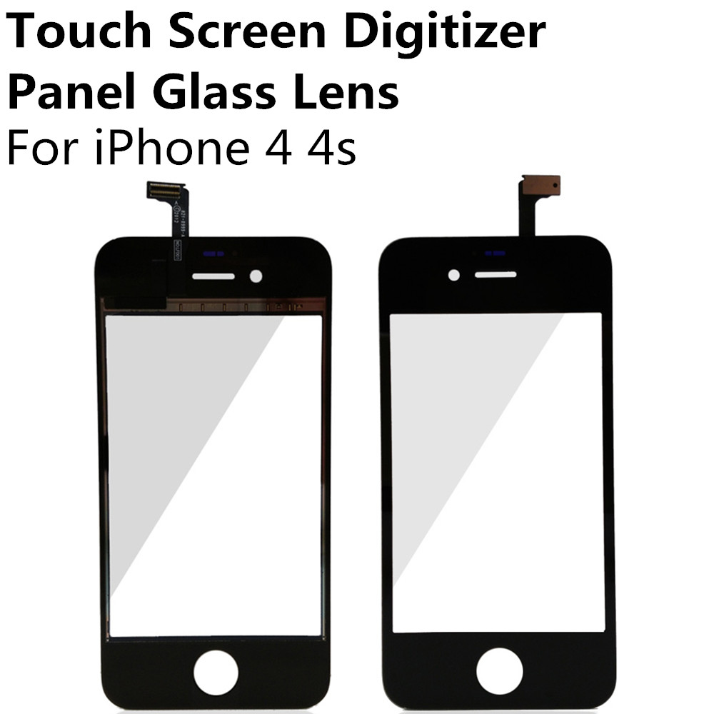 Cheap Black / White Touch Screen Digitizer Panel Display Front Glass Lens for iPhone 4 4S Replacement Repair Part Free shipping(China (Mainland))