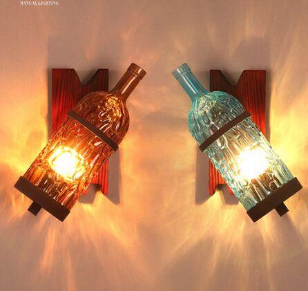 Фотография Creative industrial wall loft personality color cafe bar KTV studio retro bottle wall decoration wall lamp.