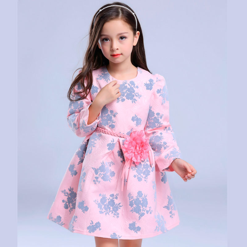 2016 New Autumn Winter Girls Dresses + Belt Pearl Necklace Flower Princess Wedding Dress Birthday Party Gifts Children - MJ Clothes store