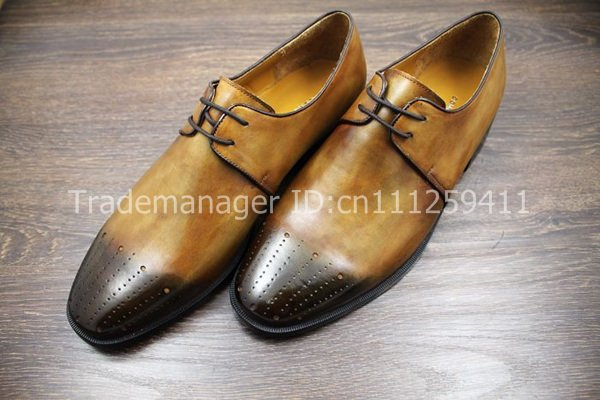 Free shipping bespoke two tones handmade pure genuine calf leather mens casual derby shoe NO.TZ1025<br><br>Aliexpress