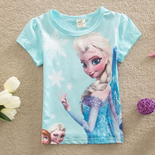 New 2016 Baby Girls Summer Tops Children Tshirts Girls Tees Short Sleeve Elsa T-shirts Kids Wear Girls Clothing Pink Shirt(China (Mainland))