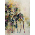 Hand Painted Modern Style Abstract Oil Painting Canvas animals deer Doe Eyed painted Pictures Decorative Painting