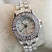 2016 Novas Mulheres Strass Relógios Vestido Da Senhora Mulheres relógio de Diamantes Pulseira de relógio de Pulso das senhoras de Cristal de Quartzo Relógios de Luxo da marca