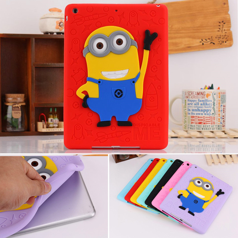 For iPad Air 2 Case Silicone 3D Despicable Me Minion Soft Rubber Case Cover For iPad 6 Shockproof Cute Cartoon Tablet Case Capa<br><br>Aliexpress