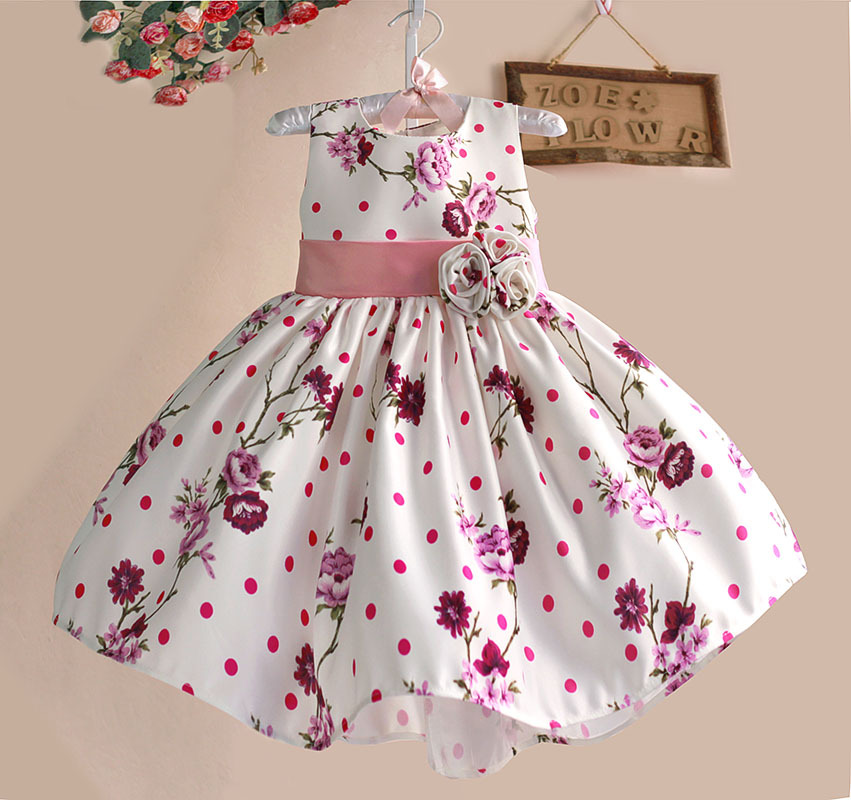 New Hot Pink Flower Baby Girls Dress Tribute Silk Princess Kids Dresses for girl clothes party Size 1-5Y kinderkleding meisjes(China (Mainland))