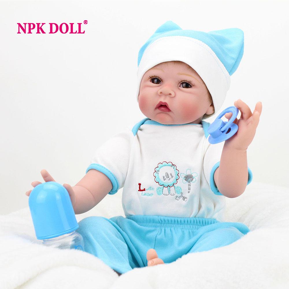 NPKDOLL 22 inch Silicone Reborn Baby Dolls Handmade Realistic Lifelike Babies Born Toys For Kids Gift Fake Baby Boy(China (Mainland))