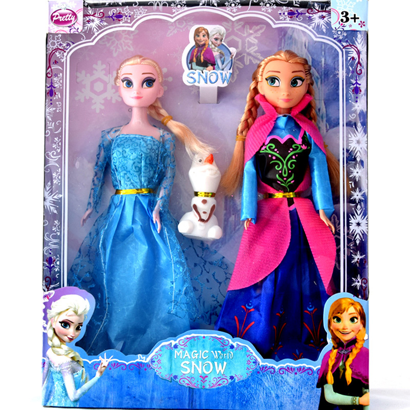 2 PCS/Set Newest Elsa Anna Dolls For Baby Girls Action Figures Princess Children Toys With A Olaf Kids Best Birthday Gift DA020(China (Mainland))