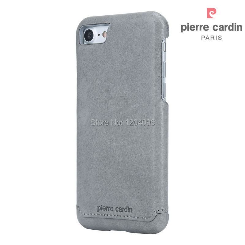 Pierre Cardin Genuine Leather Protective Hard Case Back Cover for Apple iPhone 7 / 7 Plus