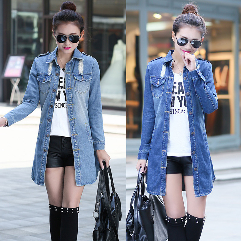 Ladies Long Denim Jacket - JacketIn