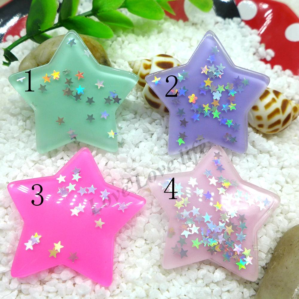 39MM Kawaii Star flatback resin cabochon for phone deco hair bow diy Scrapbook Embellishment Free shipping(China (Mainland))