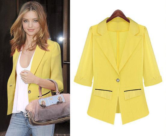 2014 Free Shipping Casual Blazer Women European Candy Color Three Quarter Women's Blazer Feminino 8370(China (Mainland))