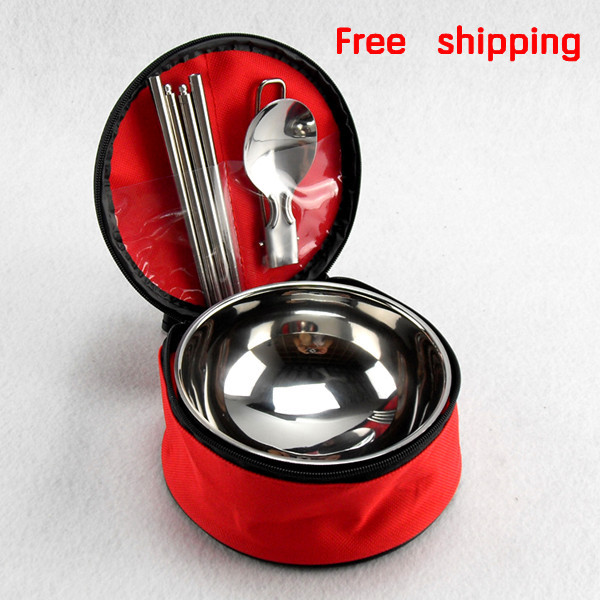 Free Shipping bento box 3PCS Portable travel cutlery set stainless steel camping lunch box fashion food container JIMEI-00129(China (Mainland))