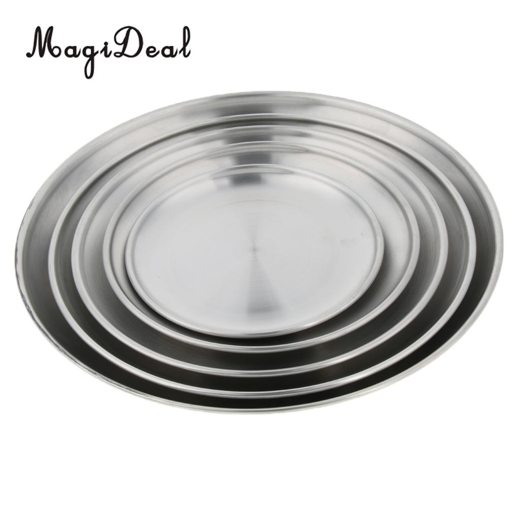 Outdoor Camping Hiking Picnic Stainless Steel Plate Dish Food Tray Tableware