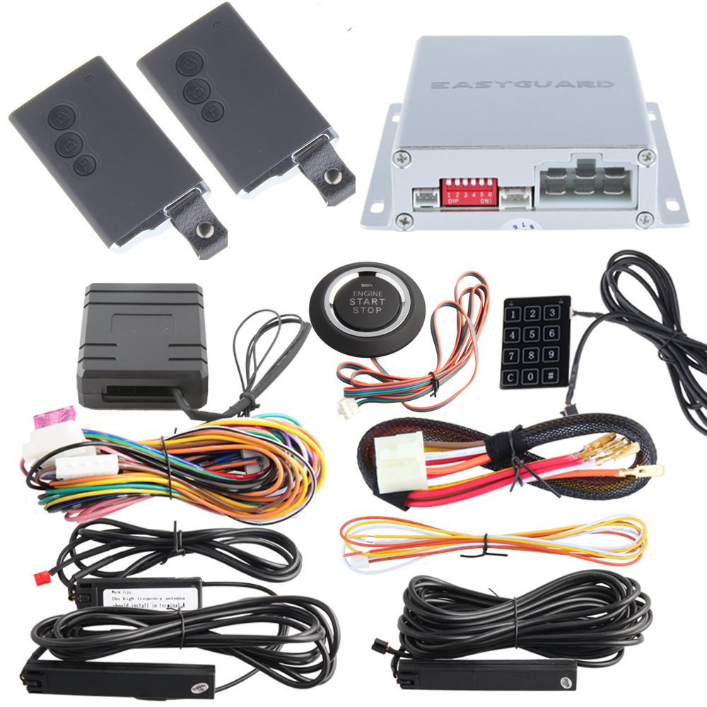 PKE car alarm system with remote engine start stop, chip immobilizer bypass, push button start/stop, touch password entry(China (Mainland))
