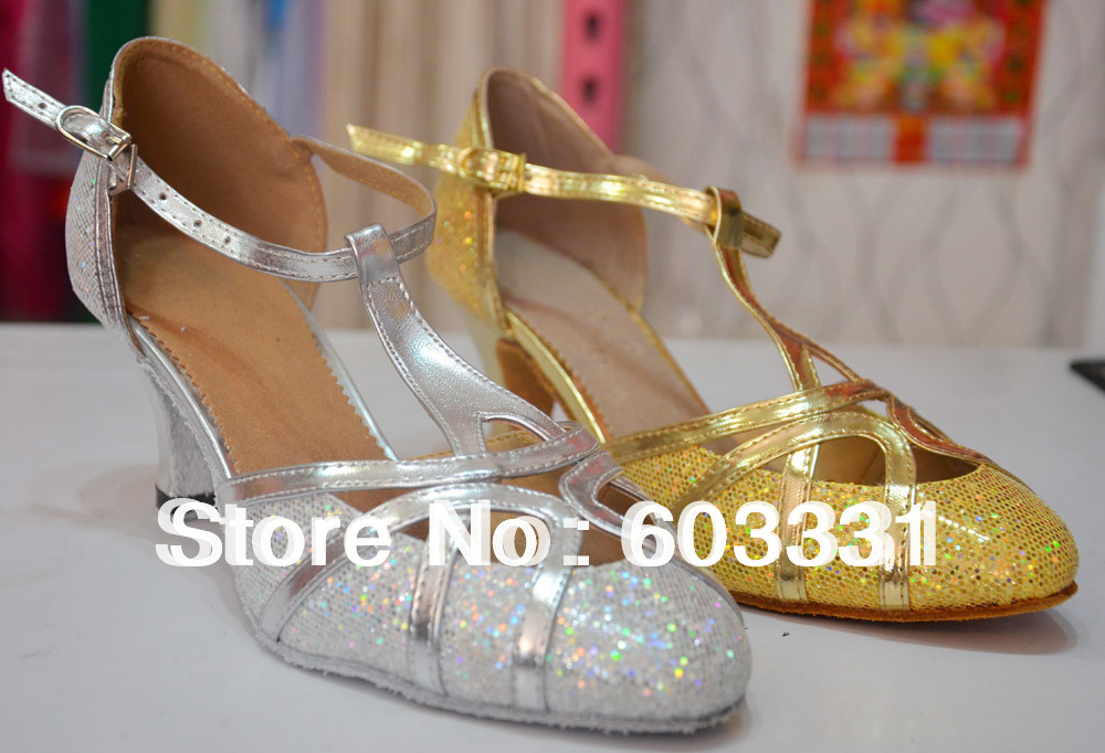 Adult Women Ballroom Latin Dance Salsa Shoes Ladies Tango Rumba Modern Med Heels US 5-8 2 colors ! - dance dress store