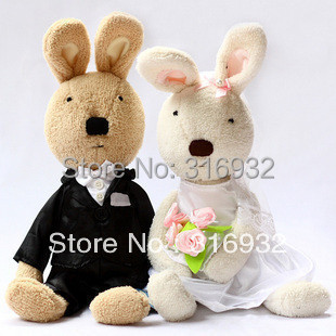 J1 Brand new Le sucre rabbit wedding dress bunny stuffed plush toy, good gift for lover 1 pair