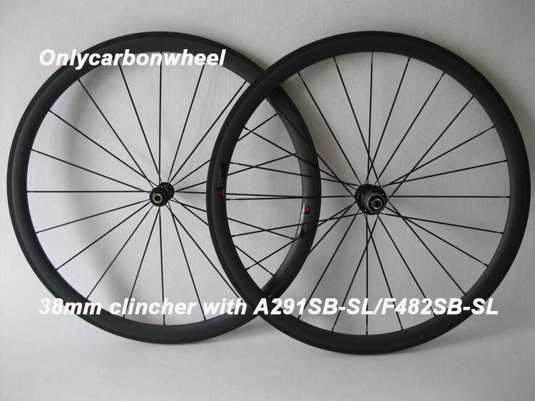 Carbon wheelset U shape 23mm width 38mm clincher wheelset with Novatec A291SB-SL/F482SB-SL(China (Mainland))
