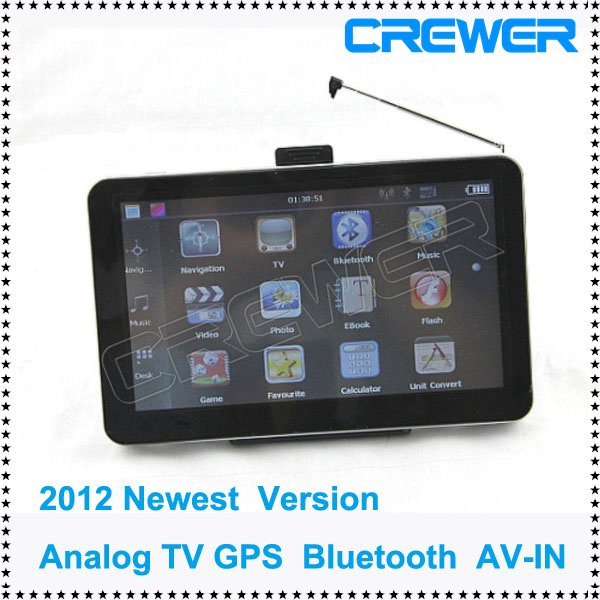 Free Shipping 2012 Newest Version 7''HD Car Gps With Analog TV Bluetooth AV IN