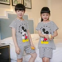 pijamas for boys girls summer baby pajama sets cartoon minion short sleeve sleepwear kids costume Low price Free shipping