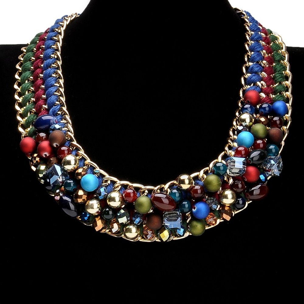 2015 Fashion Jewelry Women Multi Layer Gold Chain Bohemia Handmade Resin Clear Crystal Beads Bib Choker Statement Necklace - MOONEY PY STORE store