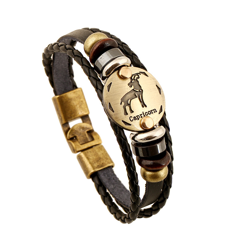 Capricorn constellation Leather Bracelet male female hand accessories wholesale friends sisters gift bangle free ship wrist band(China (Mainland))