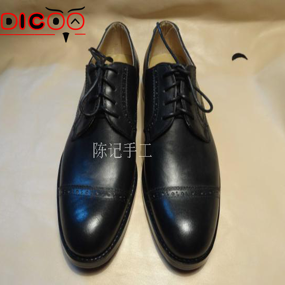 Luxury Mens goodyear formal shoes real leather mens oxfords dress shoes Italian handmade oxford cap toe boss leather shoes 47 48(China (Mainland))