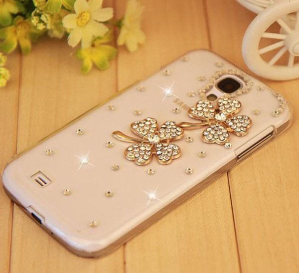 Mobile phone case four leaf grass for Samsung 9500 S4 SIV i9500 rhinestone phone case